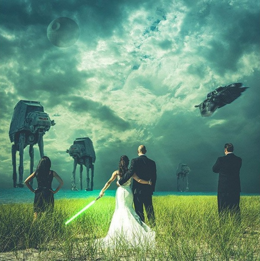 Epic Star Wars Wedding Photo