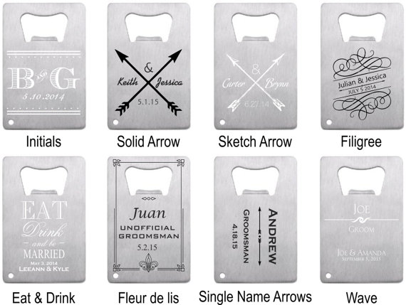 Customized bottle openers - wedding favors