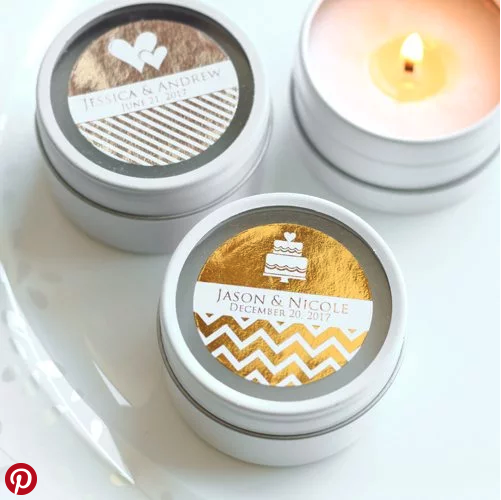 customized candles - wedding favors
