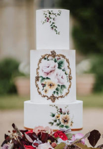 Hand Painted Cakes With Edible Paint - White Cake With Hand Painted Flowers