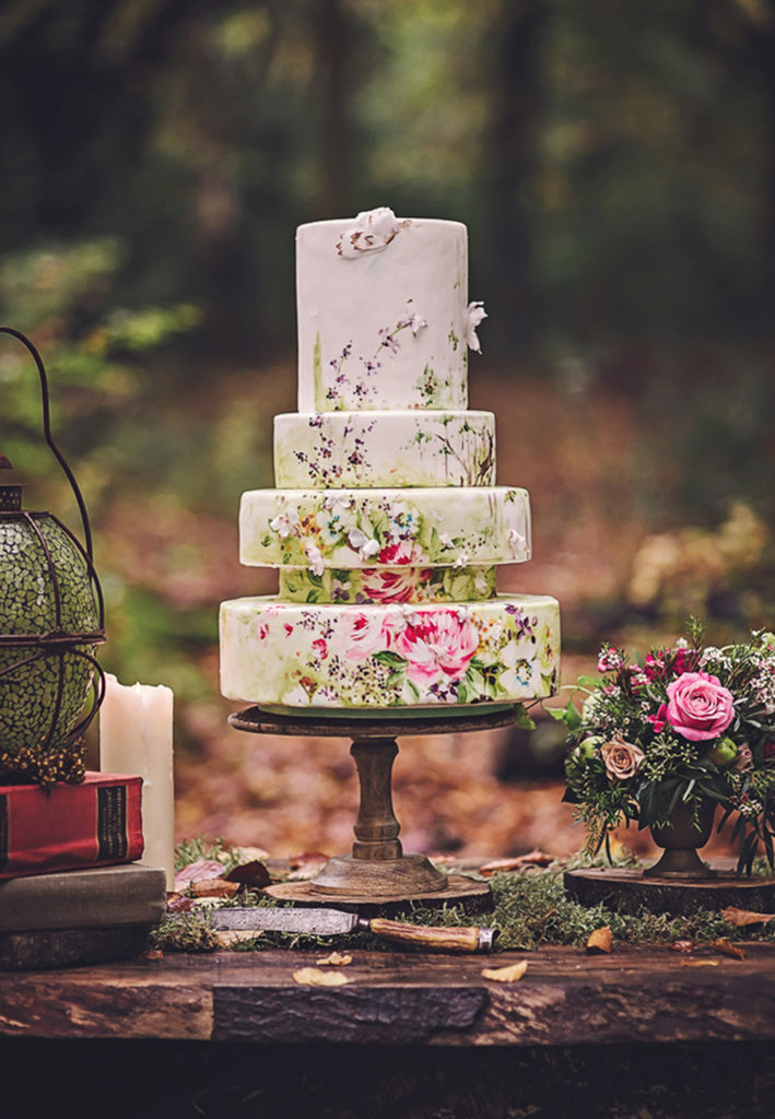 Hand Painted Cakes With Edible Paint - Floral Layer Cake on Rustic Table